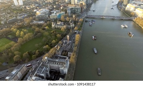 London Rooftop View Panorama at Sunset with Urban Architectures around Lambeth Palace, Archbishop's Park and Thames River