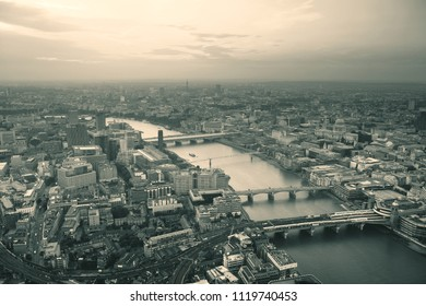 London rooftop view panorama with urban architectures and bridges.
