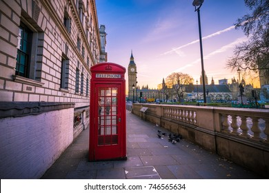 London scenery - Big Ben and red telephone box