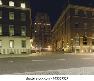 London Senate House Library by night, Street view from Russell Square, University of London with Georgian Architecture Buildings