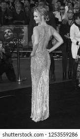 LONDON - SEP 06, 2017:  ( Image digitally altered to monochrome ) Jennifer Lawrence attends the Mother UK film premiere at Odeon Leicester Square