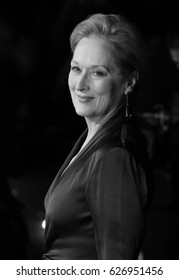 LONDON - SEP 08, 2015: Meryl Streep ( Image digitally altered to monochrome ) attends Suffragette film premiere and gala opening night, 59th BFI London Film Festival