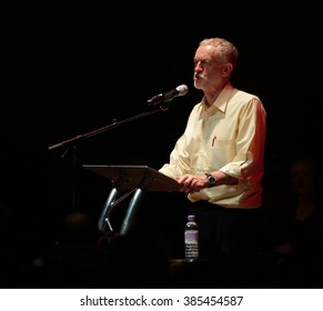 LONDON - SEP 10, 2015: Jeremy Corbyn Labour Party Leader speaks to supporters at the Rock Tower on Sep 10, 2015 in London