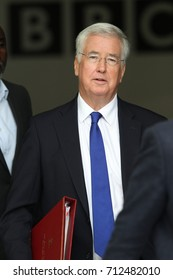 LONDON - SEP 10, 2017: Michael Fallon Secretary of State for Defence seen leaving the BBC after appearing on the Andrew Marr Show at the BBC Studios in London
