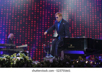 LONDON - SEP, 11, 2016: Sir Elton John performs at the BBC Radio 2 Live in Hyde on Sep 11, 2016 in London