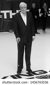 LONDON - SEP 12, 2018: ( Image digitally altered to monochrome ) Sir Michael Caine attends the King of Thieves film premiere in London