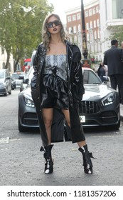 London - SEP 14, 2018: Member of the public poses for Street fashion at Spring Summer 2019, London Fashion Week