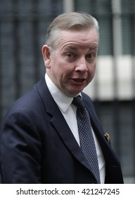 LONDON - SEP 15, 2015: Michael Gove MP, Lord Chancellor and Secretary of State for Justice, seen attending the cabinet meeting in Downing Street on Sep 15, 2015 in London