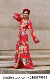 London - SEP 16, 2018: Member of the public poses for Street fashion at Spring Summer 2019, London Fashion Week