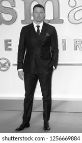 LONDON - SEP 18, 2017:  ( Image digitally altered to monochrome ) Channing Tatum attends the Kingsman: The Golden Circle World Premiere at Odeon Leicester Square