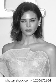 LONDON - SEP 18, 2017: ( Image digitally altered to monochrome ) Jenna Dewan Tatum attends the Kingsman: The Golden Circle World Premiere at Odeon Leicester Square