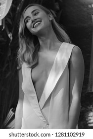 LONDON - SEP 20, 2015: ( Image digitally altered to monochrome ) Suki Waterhouse attends the Pan film premiere, Leicester Square in London