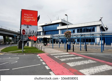 LONDON - SEP 21 : Terminal buildings of London City Airport, in Borough of Newham, owned by GIP, serve about 3 million passengers a year, fifth busiest airport London area, on Sep 21, 2017, London, UK