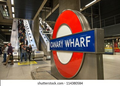 LONDON - SEP 27: The London Underground sign outside the Canary Wharf Station shines in London's Financial District on September 27, 2012