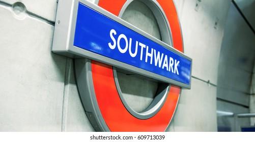 LONDON - SEP 27: Underground Southwark tube station in London on September 27, 2012. The London Underground is the oldest underground railway in the world covering 402 km of tracks