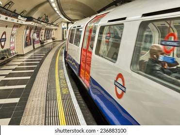 LONDON - SEP 28: London Underground train station on September 28, 2012 in London. London Underground is the 11th busiest metro system worldwide with 1.1 billion annual rides