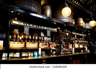 LONDON - SEP 5: Interior of pub, for drinking and socializing, focal point of the community, on Sep 5, 2016, London,