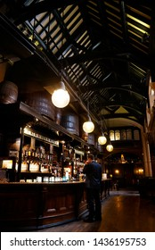 LONDON - SEP 5: Interior of pub, for drinking and socializing, focal point of the community, on Sep 5, 2016, London, UK. Pub business, now about 53,500 pubs in UK, has been declining every year.