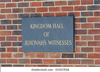 LONDON - SEP 6:  View a sign outside a Jehovah's Witnesses Kingdom Hall on Sep 6, 2015 in London, UK. Founded in the 1870s in the USA, the Jehovah's Witnesses currently has over 8 million members.