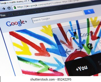 LONDON - SEPT 20: Google announces that its social networking service, Google+, is open to all on Sept 20, 2011 in London, UK. Google+ is competing directly against social networking giant Facebook.