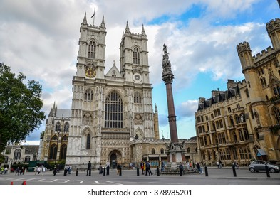 LONDON - September 12, 2015: Westminster Abbey. Since 1066, when Harold Godwinson and William the Conqueror were crowned, the coronations of English and British monarchs have been held there.