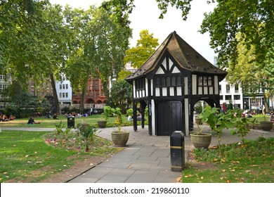 London - September 13: view of the gardener's hut in Soho Square in London, UK on September 13, 2014. Built in the 17th century, the Square is now home to several media organisations.