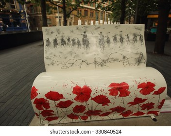 "London - September 14 2014: The Books About Town parade of Book Benches was held in aid of the National Literacy Trust, This bench is ""Warhouse""."
