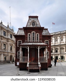 LONDON - SEPTEMBER 18, 2018. Transitional Object (PsychoBarn) is Cornelia Parker's installation commissioned by The Metropolitan Museum of Art, NY, seen here in the Royal Academy courtyard, London.