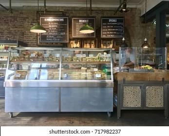 LONDON - SEPTEMBER 19, 2017: Sandwich bar at Benugo sandwich shop chain in London, UK.