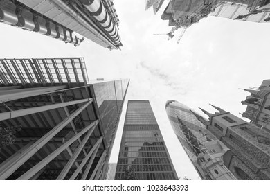 LONDON - SEPTEMBER 2016: London City buildings, skyward view. London attracts 30 million people annually.