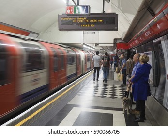 LONDON - SEPTEMBER 2016:  The Underground, known as the Tube because of the shape of the tunnels, is one of the largest public transit systems in the world, as seen in London in 2016.