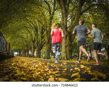 LONDON- SEPTEMBER, 2017:  Friends running / jogging together in autumnal park in Wandsworth Park, London.