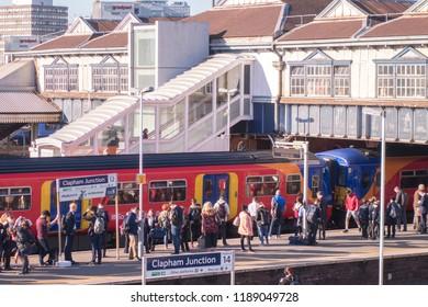 LONDON- SEPTEMBER, 2018: Clapham Junction Railway Station,  a maor transort hub in Battersea, south west London