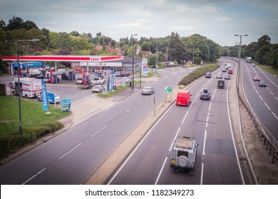 LONDON- SEPTEMBER, 2018: Esso (Exxon Mobil) fuel station next to a busy road in south London