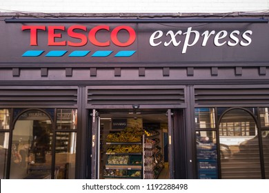 LONDON - SEPTEMBER, 2018:  Exterior of Tesco Express store on south west London high street.