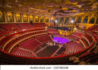 LONDON- SEPTEMBER, 2018: Interior of the Royal Albert Hall, a world famous music venue and London landmark