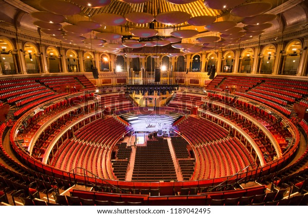 LONDON- SEPTEMBER, 2018: Interior of the Royal Albert Hall, a world famous music venue and London landmark