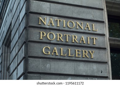 LONDON- SEPTEMBER, 2018: The National Portrait Gallery exterior signage, a world famous London landmark museum and popular visitor attraction