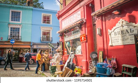 LONDON- SEPTEMBER, 2018: Portobello Road in Notting Hill area of West London, a vibrant and popular shopping and market street