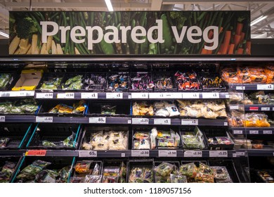 LONDON- SEPTEMBER, 2018: The Prepared Veg section inside a Sainsburys supermarket in south west London