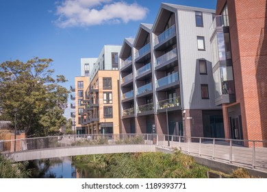 LONDON- SEPTEMBER, 2018: The Ram Quarter, a new residential development in the centre of Wandsworth Town in south west London with a mix of new and heritage buildings