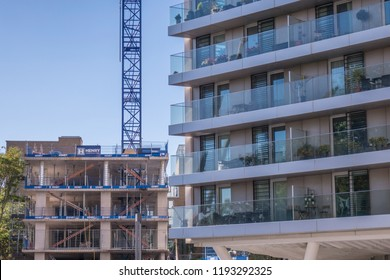 LONDON- SEPTEMBER, 2018: Residential development in the centre of Wandsworth Town in south west London.