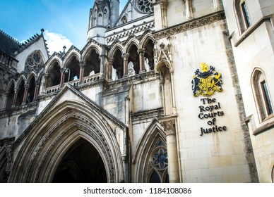 LONDON- SEPTEMBER, 2018: The Royal Courts Of Justice. An imposing iconic building in central London commonly know as the Law Courts