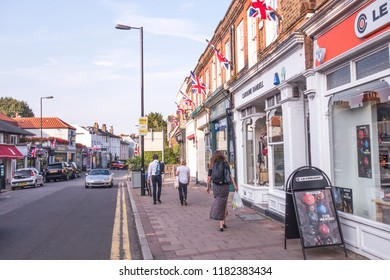 LONDON- SEPTEMBER, 2018:  Shops on Wimbledon Village high street in south west London.