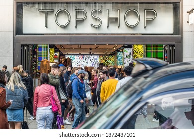 LONDON- SEPTEMBER, 2018:  Topshop store on Oxford Street, a world famous retail location and London landmark