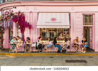 London. September 2018. A view of the colorful Peggy Porschen bakery in Belgravia in London