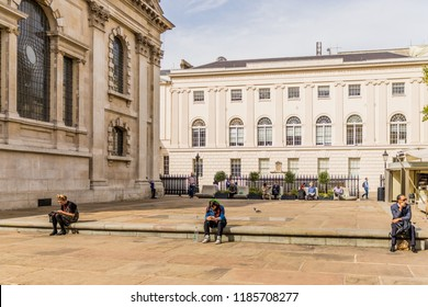 London. September 2018. A view of the courtyard of St Martins in the Fields church in Trafalgar square in London