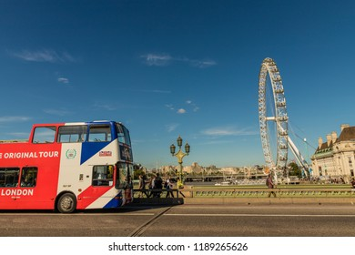 London. September 2018. A view of the London Eye from westminster Bridge in Westminster in London