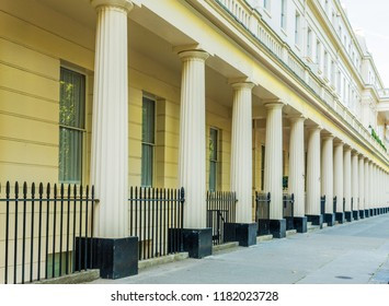 London. September 2018. A view of the grand architecture in Eaton Square in Belgravia in London