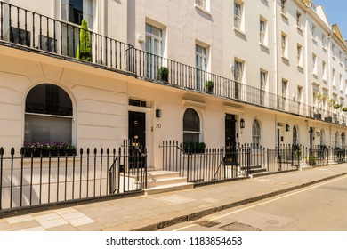 London. September 2018. A view of a grand street in Belgravia in London